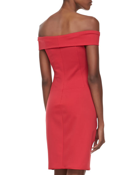 Off-The-Shoulder Sheath Dress, Lipstick Red