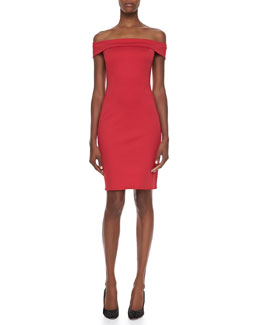Halston Heritage Off-The-Shoulder Sheath Dress, Lipstick Red