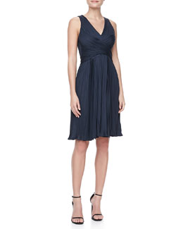 Halston Heritage Sleeveless Pleated Jersey Dress