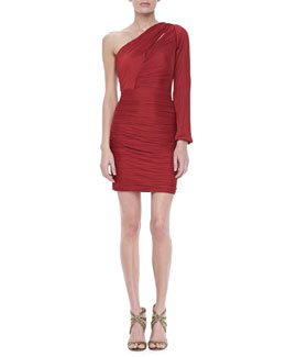 Halston Heritage Bell One-Sleeve Pleated Dress, Paprika