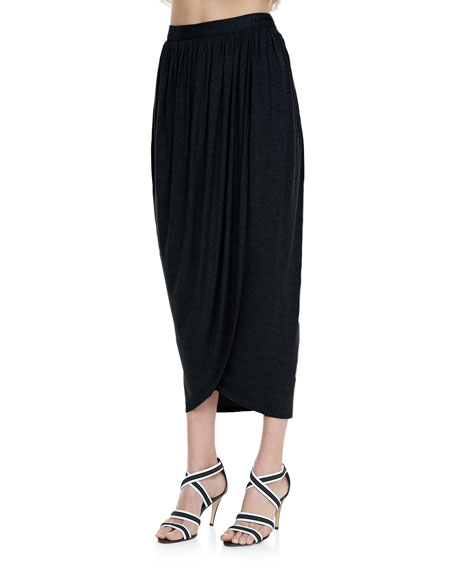 Tulip Draped Crepe Midi Skirt