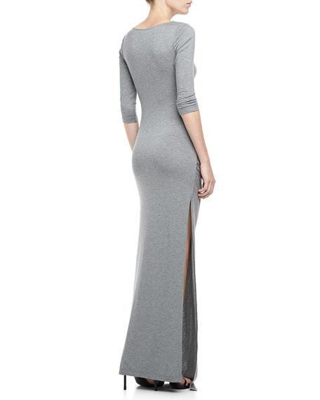 Gathered-Side Slub Dress