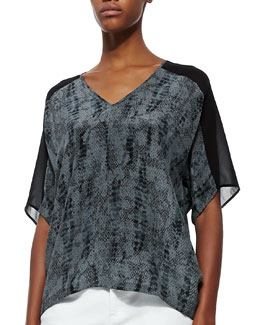 Eileen Fisher Lace-Print V-Neck Silk Top, Petite