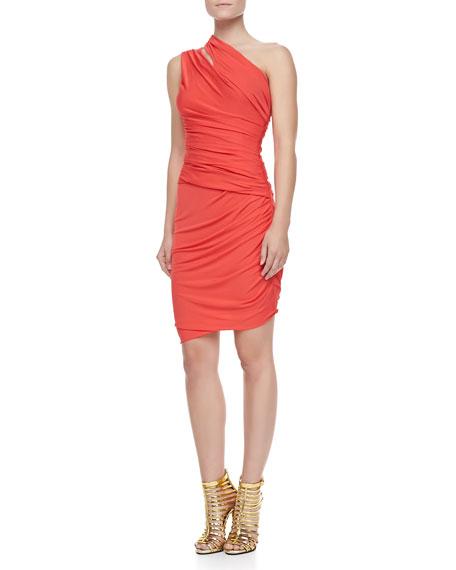 Ruched Slit-Shoulder Dress