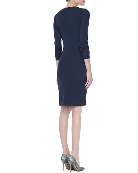 Long Sleeve Jersey Wrap Dress