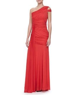 Halston Heritage One-Shoulder Bodice Gown, Vermillion