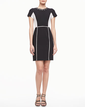 Two-Tone Crepe Dress