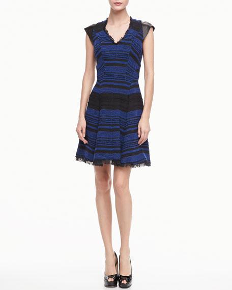 Leather-Shoulder Tweed Dress