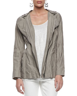 Eileen Fisher Rumpled Hooded Zip-Front Jacket