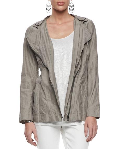 Rumpled Hooded Zip-Front Jacket