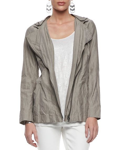 Rumpled Hooded Zip-Front Jacket, Petite