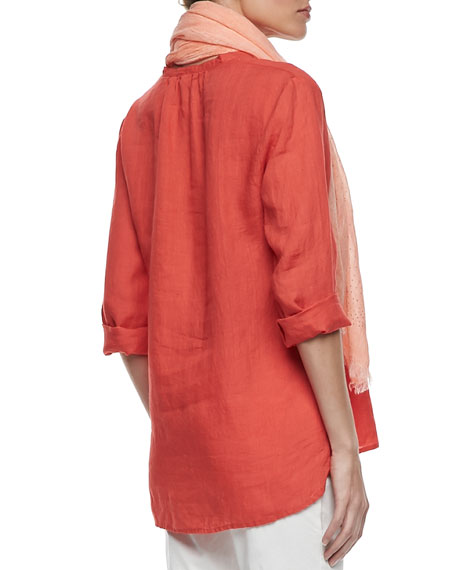 Organic Linen Long-Sleeve Tunic, Petite