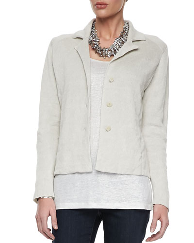 Eileen Fisher Metallic Zipper-Cuff Jacket, Bone
