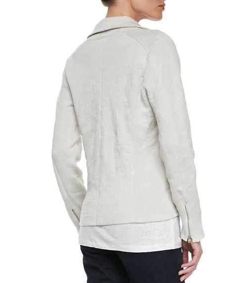 Metallic Zipper-Cuff Jacket, Petite