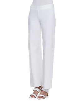 Eileen Fisher Modern Wide-Leg Stretch Crepe Pants, Women's