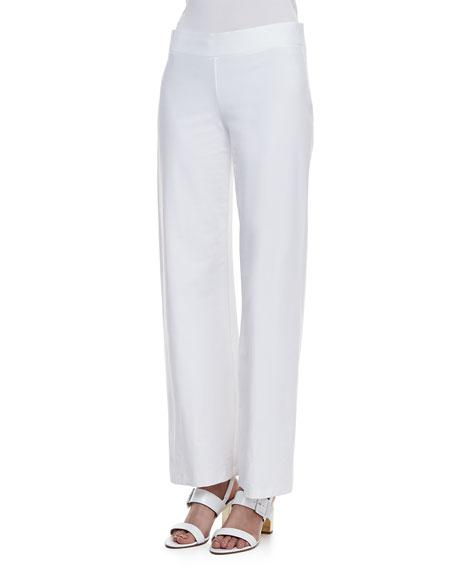 Modern Wide-Leg Stretch Crepe Pants, Women's