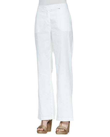 Linen-Blend Straight-Leg Trousers, Petite