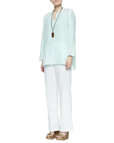 Linen-Blend Straight-Leg Trousers, Women's