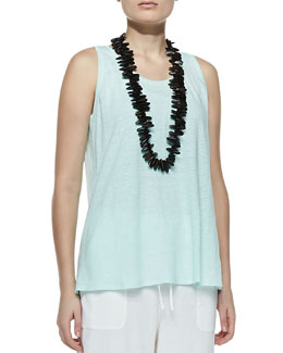 Eileen Fisher Linen Jersey Scoop-Neck Tank, Petite