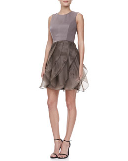 Halston Heritage Organza Ruffled Skirt Dress