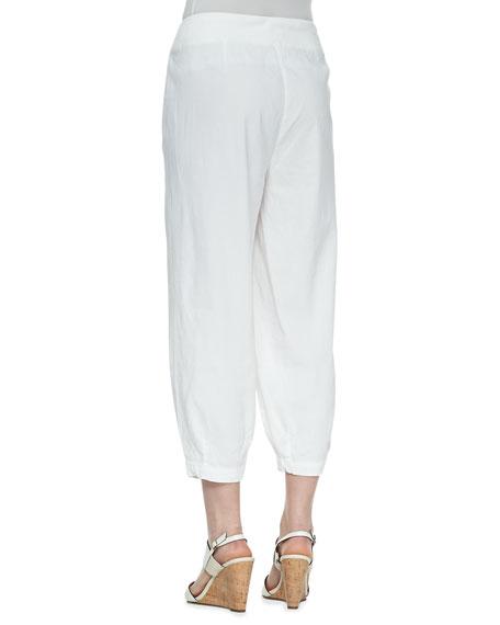 Drawstring-Waist Slouchy Capri Pants, Women's