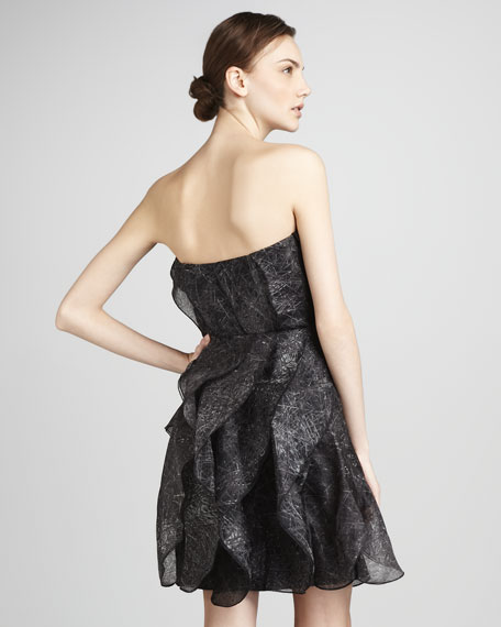 Strapless Printed Organza Dress
