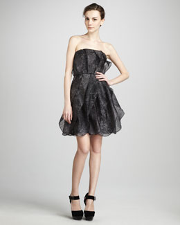 Halston Heritage Strapless Printed Organza Dress