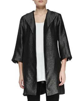 Eileen Fisher High-Collar Textured Jacket, Petite