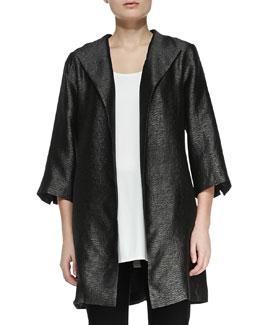 Eileen Fisher High-Collar Textured Jacket, Petite