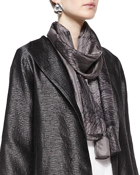 Mesh-Print Whisper Silk Scarf, Taupe