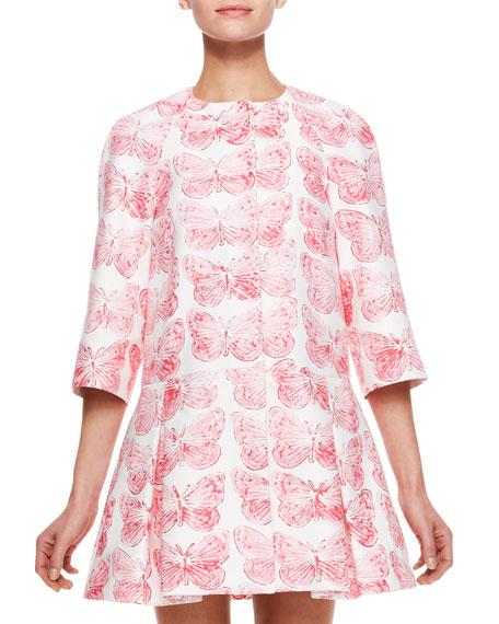 Butterfly Print Coat Dress, Hydrangea