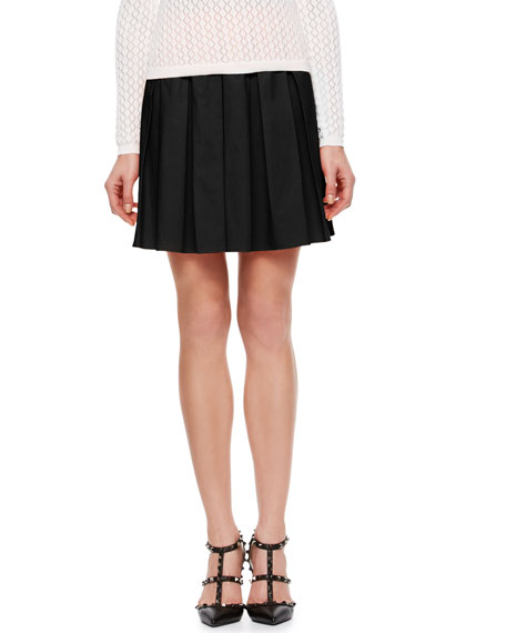 Box-Pleated Poplin Pleated Skirt