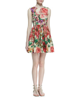 RED Valentino Macro-Flower-Print Poplin Dress, Bougainvillea