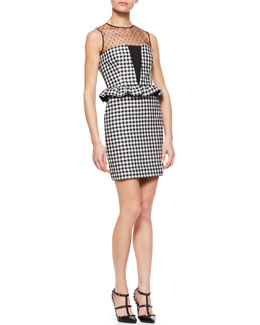RED Valentino Vichy Gingham Peplum Dress