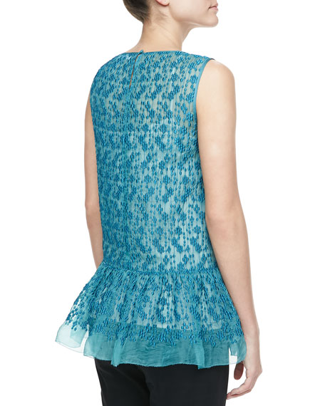 Polka-Dot Embroidered Peplum Tunic, Teal