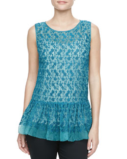 RED Valentino Polka-Dot Embroidered Peplum Tunic, Teal