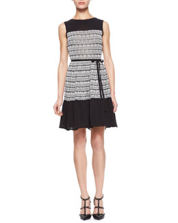 RED Valentino Cotton Knit Jacquard Print Dress with Tulle Underlay