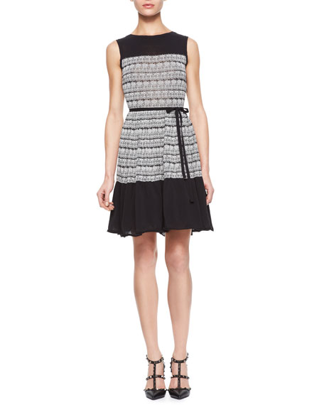 Cotton Knit Jacquard Print Dress with Tulle Underlay
