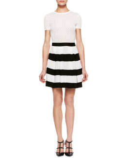 RED Valentino Quarter-Sleeve Knit Dress, Cream