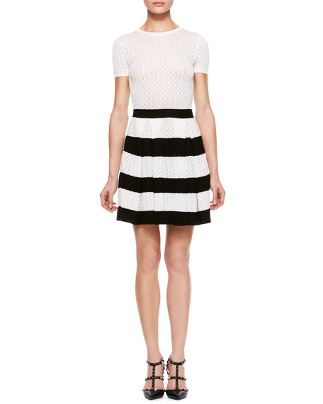 Quarter-Sleeve Knit Dress, Cream