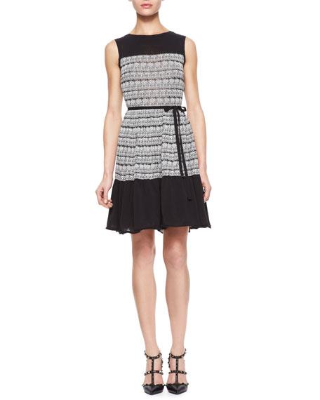 Polka-Dot Embroidery Dress, Natural/Black