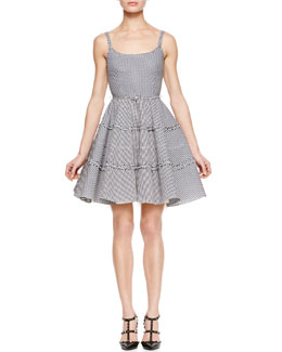 RED Valentino Micro-Check Spaghetti Strap Dress