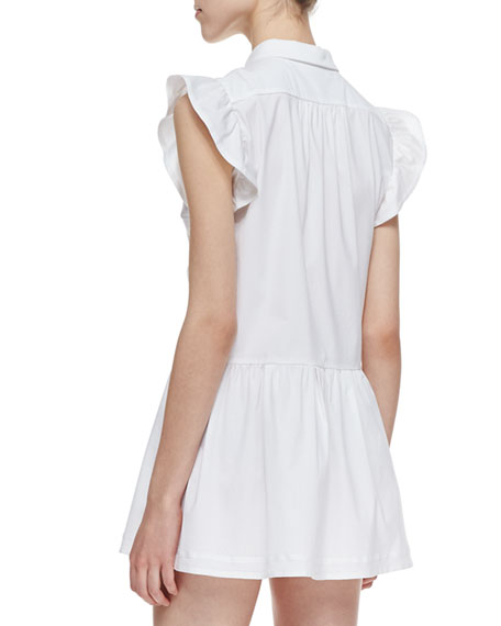 Short Stretch-Poplin Ruffle-Front Tunic Dress, White