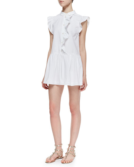Short Stretch-Poplin Ruffle-Front Tunic Dress, White