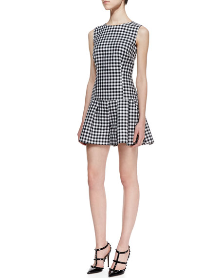 Short Gingham Jacquard Jumpsuit, Black/White