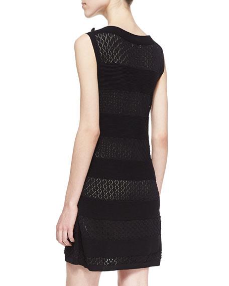 Cotton Yarn Dress with Bow, Black