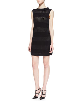 RED Valentino Cotton Yarn Dress with Bow, Black