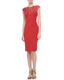 Monique Lhuillier Crepe & Lace Illusion Dress