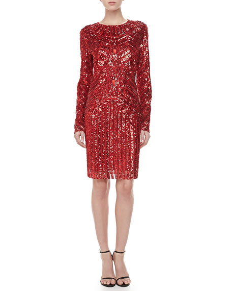 Sequined Long-Sleeve Dress, Red