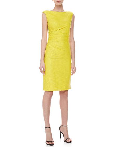 Sleeveless Tulle Draped Dress, Yellow